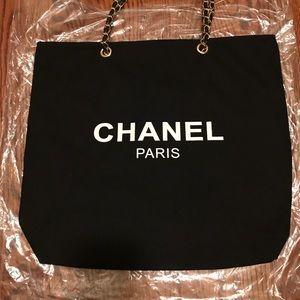 Chanel VIP black canvas tote bag W/ gold chains